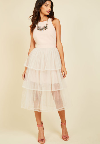 Tulle Me Everything Midi Dress - Blush, Solid, Tiered, Special Occasion, Prom, Party, Fit & Flare, Sleeveless, Spring, Summer, Fall, Winter, Woven, Tulle, Best, Scoop, Long