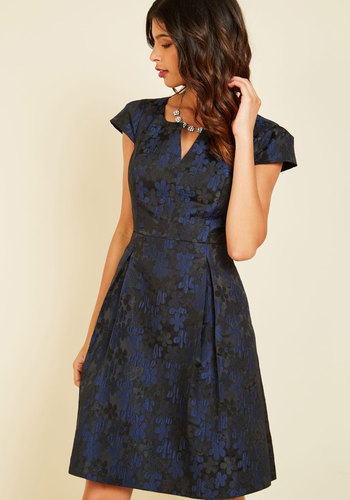 Belle Beginnings A-Line Dress Daisies - Blue, Black, Floral, Print, Special Occasion, Party, Cocktail, Fit & Flare, Short Sleeves, Fall, Winter, Woven, Exceptional, Exclusives, Sweetheart, Mid-length, Holiday Party, Pockets, Saturated