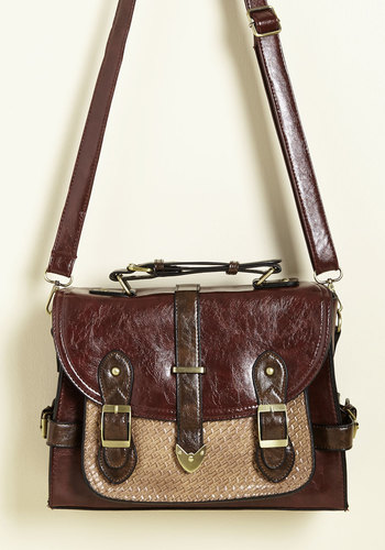 Authentically Academic Bag in Burgundy - Red, Woven, Work, Casual, Scholastic/Collegiate, Fall, Faux Leather, Better