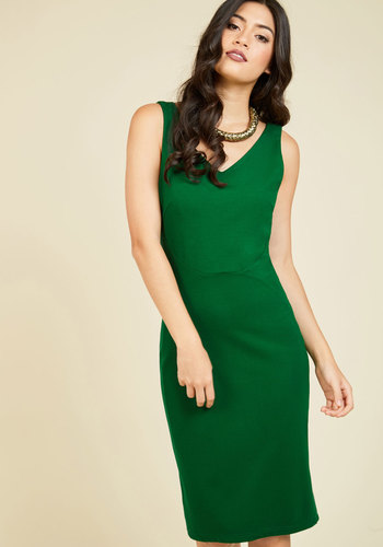 Inspired Entrepreneur Sheath Dress in Clover - Green, Work, Pinup, Sheath, Sleeveless, Fall, Knit, Better, Exclusives, Long, Wedding, Party, Cocktail, Holiday, Wedding Guest