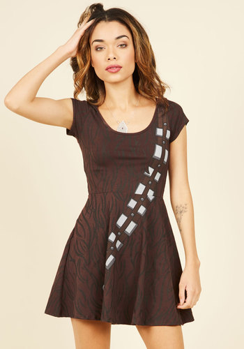 For Sidekicks and Giggles Skater Dress in Chewie - Brown, Novelty Print, Print, Casual, Quirky, Sci-fi, Nifty Nerd, A-line, Short Sleeves, Spring, Summer, Fall, Winter, Knit, Better, Short, Halloween, Pop Culture Gifts, Under 100 Gifts, Unique Gifts