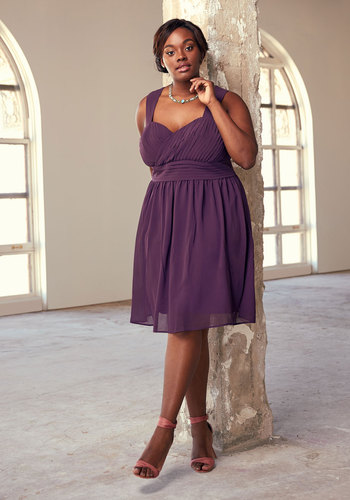 Blissful Vision A-Line Dress in Amethyst by ModCloth - Purple, Solid, Cutout, Pleats, Special Occasion, Wedding, Party, Cocktail, Bridesmaid, Homecoming, Wedding Guest, Vintage Inspired, 50s, A-line, Sleeveless, Fall, Winter, Woven, Best, Sweetheart, Mid-length, ModCloth Label, Saturated