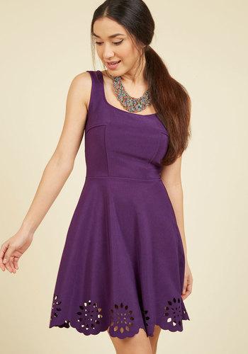 Eyelet Getaway A-Line Dress in Royal Purple