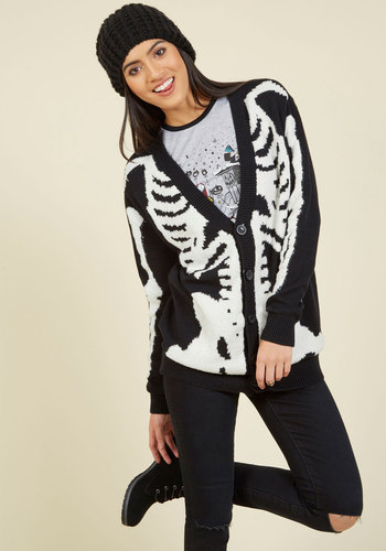 Vintage Retro Halloween Themed Clothing Show and Skeleton Cardigan $79.99 AT vintagedancer.com