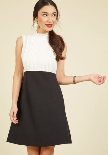 Serene Soloist A-Line Dress - Multi, Black, Solid, Pleats, Party, Work, Twofer, Sleeveless, Woven, Exceptional, Black, Mid-length