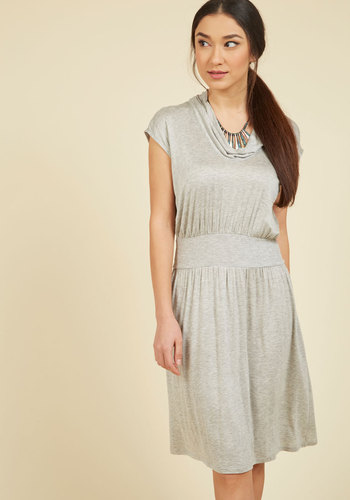Wowed by Your Ways Jersey Dress in Grey - Grey, Solid, Casual, A-line, Short Sleeves, Fall, Winter, Knit, Good, Exclusives, Private Label, Mid-length