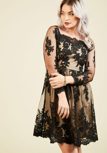 Poised for Positivity Lace Dress - Knit, Lace, Mid-length, Black, Tan / Cream, Solid, Embroidery, Lace, Party, Cocktail, Holiday Party, Homecoming, Wedding Guest, A-line, 3/4 Sleeve, Fall, Winter, Better, Scoop, Special Occasion, Prom, LBD