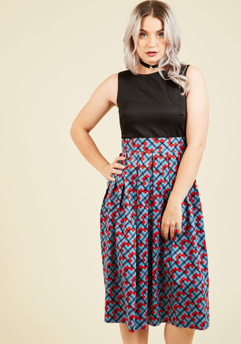 Serendipitous Occasion Midi Dress in Tile by Closet London - Blue, Red, Black, Print, Geometric, Bows, Party, Work, 50s, Fit & Flare, Fall, Winter