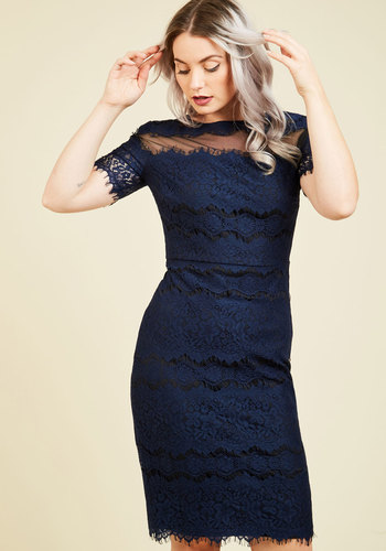 Fete-Ready Flawlessness Lace Dress - Blue, Solid, Cutout, Lace, Party, Cocktail, Girls Night Out, Holiday Party, Wedding Guest, Sheath, Short Sleeves, Fall, Winter, Lace, Best, Scoop, Saturated