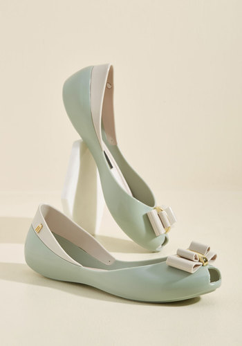 Http Www Modcloth Com Shop Shoes Flats Bow Out Of Your Way Peep Toe Flat In Sage