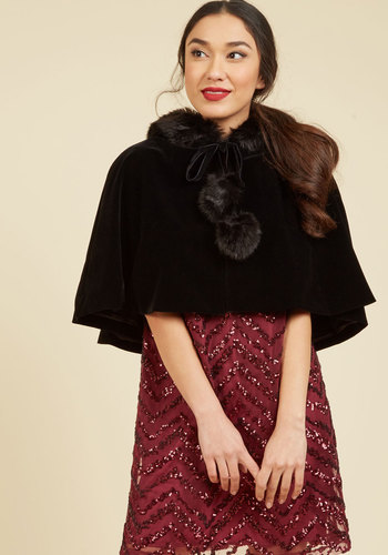 Victorian Wraps, Capes, Shawl, Capelets Spirited Sleigh Ride Velvet Cape $79.99 AT vintagedancer.com