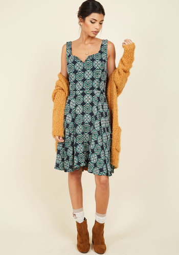Wowing Whimsy A-Line Dress in Medallions - Green, Print, Geometric, Casual, A-line, Sleeveless, Summer, Fall, Woven, Better, Exclusives, Mid-length
