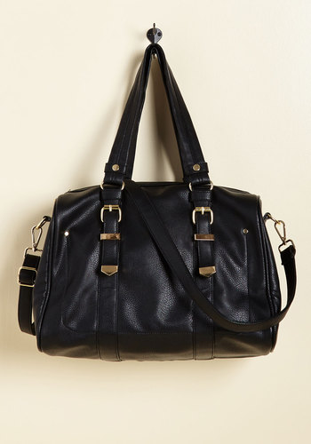 Fittingly Fashioned Bag - Black, Solid, Buckles, Work, Casual, Winter, Better