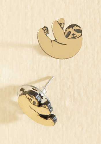 Got the Hang of It Earrings by Vinca - Metal, Plastic, Gold, Animal Print, Print with Animals, Casual, Quirky, Critters