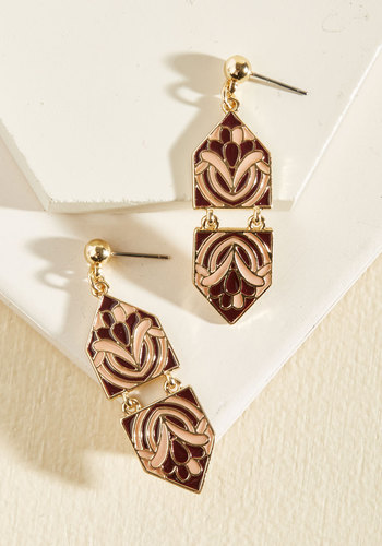 Modern Art Maven Earrings in Plum - Purple, Pink, Gold, Blush, Geometric, Work, Vintage Inspired, 20s, Gold