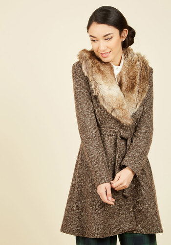 Shop 1960s Style Coats and Jackets City Lovin Coat in Coffee $199.99 AT vintagedancer.com