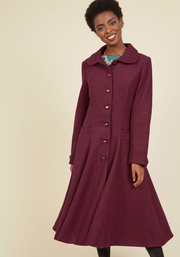 1930s Style Coats Elegance of the Era Coat in Wine $199.99 AT vintagedancer.com