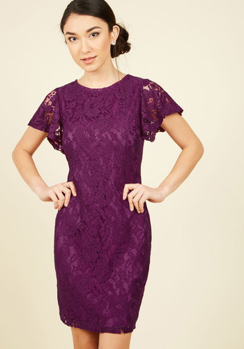 Front Row Mentor Lace Dress in Plum - Purple, Solid, Daytime Party, Shift, Short Sleeves, Fall, Woven, Lace, Better, Mid-length, Lace, Holiday Party