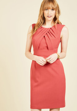 Pleated Leader Sheath Dress