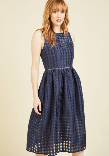 Ever-So-Engaging Midi Dress - Blue, Checkered / Gingham, Print, Daytime Party, Graduation, Wedding Guest, A-line, Sleeveless, Spring, Summer, Fall, Winter, Woven, Best, Scoop, Long