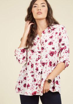 Creative Career Conference Button-Up Top in Fuchsia Flora