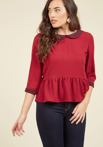 Evening at the Easel Ruffled Top in Scarlet