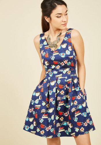 Bookmaking Brunch A-Line Dress in Cafe - Multi, Blue, Novelty Print, Print, Work, Casual, Food, Fit & Flare, Sleeveless, Fall, Woven, Better, Exclusives, Blue, Mid-length, Pockets