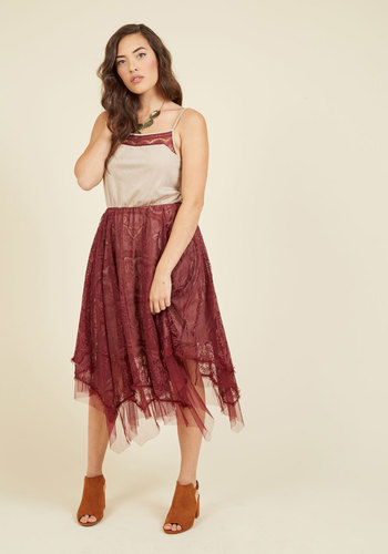 Long Time No Whimsy Lace Dress in Maroon by Ryu - Red, Pink, Solid, Daytime Party, Boho, A-line, Sleeveless, Fall, Winter, Knit, Lace, Better, Long, Lace