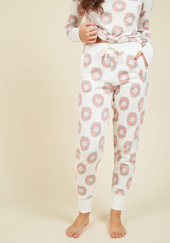 Wreath the Benefits Sleep Pants by Honeydew Intimates - White, Red, Green, Print with Animals, Print, Lounge, Cats, Fall, Winter, Best, Woven, Tis the Season Sale