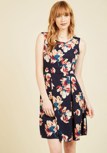 I Rest My Grace A-Line Dress in Brushstroke Blossom - Mid-length, Blue, Red, Orange, White, Floral, Print, Work, Daytime Party, A-line, Sleeveless, Summer, Crew, Vintage Inspired, 50s, Spring, Fall, Winter, Woven, Better, Saturated