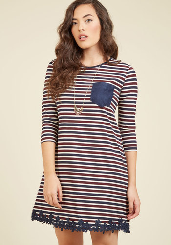 Dreamy Like Sunday Morning Shift Dress - Blue, Red, Stripes, Print, Casual, Nautical, Americana, Shift, 3/4 Sleeve, Fall, Knit, Good, Mid-length