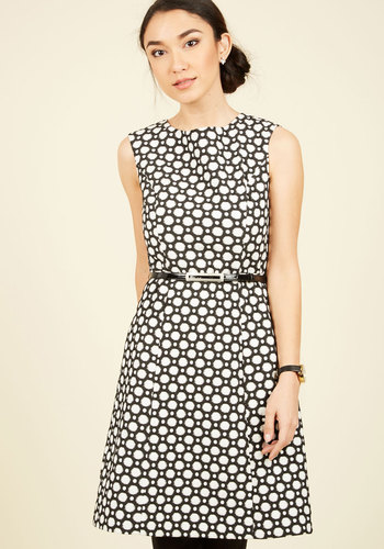 Professional Profile A-Line Dress by Adrianna Papell - Multi, Black, Polka Dots, Belted, Party, A-line, Short Sleeves, Knit, Exceptional, Scoop, Black