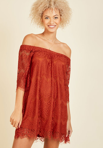 We're Just Palette Around Lace Dress - Red, Solid, Casual, Daytime Party, Boho, Shift, Short Sleeves, Fall, Woven, Lace, Good, Short, Orange, Girls Night Out, Off the Shoulder, Lace