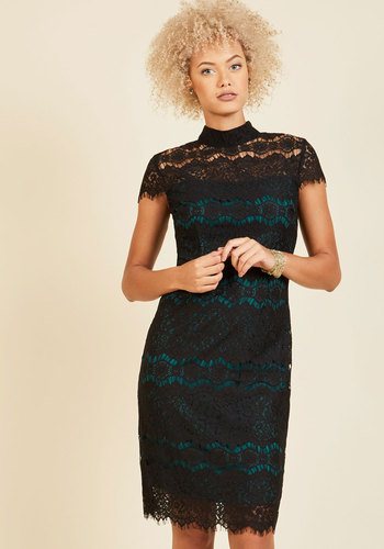 Flattery at the Gallery Lace Dress - Black, Blue, Lace, Special Occasion, Homecoming, Mockneck, LBD, Lace, Holiday Party