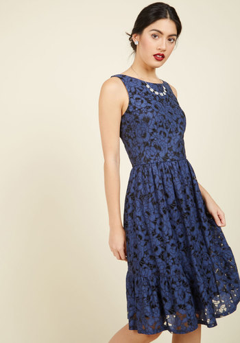 One for the Honey Lace Dress - Blue, Solid, Work, Casual, Daytime Party, Sundress, A-line, Sleeveless, Summer, Fall, Woven, Lace, Better, Long, Lace