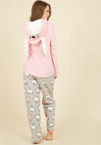 Come On Get Hoppy Pajamas - Pink, Grey, Print with Animals, Print, Lounge, Critters, Fall, Winter, Better, Critter Gifts, Under 50 Gifts, Cozy2015, Woven