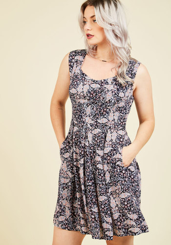 Long-Term Loveliness Floral Dress in Paisley - Multi, Blue, Paisley, Print, Daytime Party, Americana, Fit & Flare, Sleeveless, Summer, Fall, Woven, Better, Exclusives, Mid-length, Pockets