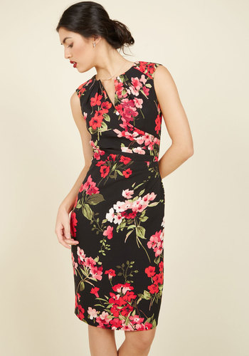 Scholars' Soiree Sheath Dress in Scarlet Garden by Adrianna Papell - Black, Red, Floral, Print, Ruching, Party, Work, Casual, Holiday Party, Wedding Guest, Sheath, Cap Sleeves, Spring, Summer, Fall, Winter, Best, V Neck, Woven
