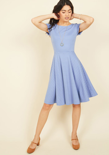 Playlist Professional A-Line Dress in Striped Blue