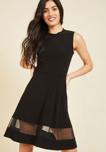 Sleek Your Interest A-Line Dress - Black, Solid, Work, A-line, Sleeveless, Fall, Knit, Better, Cocktail, Sheer