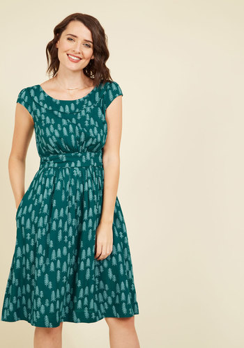 1950s Plus Size Dresses Day After Day A-Line Dress in Pines $99.99 AT vintagedancer.com