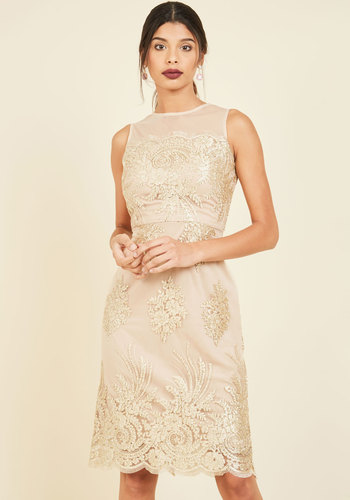 Luxe Illuminations Sheath Dress in Champagne - Gold, Solid, Special Occasion, Cocktail, Sheath, Sleeveless, Knit, Lace, Best, Scoop, Luxe Gifts, Lace, Wedding, Homecoming, Luxe, Sparkly2015, Holiday Party, Sheer
