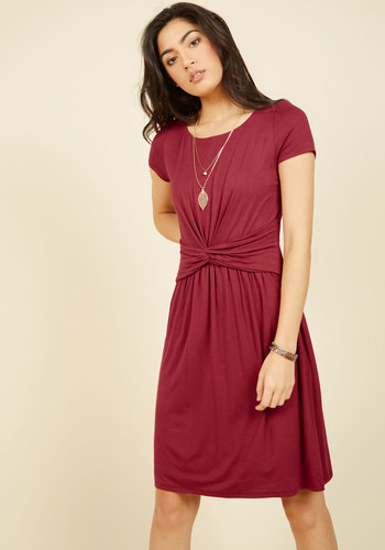 A Whole New Whorl Jersey Dress in Cranberry - Red, Solid, Casual, A-line, Short Sleeves, Fall, Winter, Knit, Better, Exclusives, Private Label, Mid-length