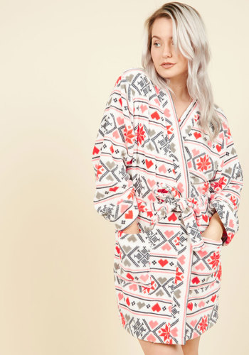 Beloved Bedtime Reading Robe in Fair Isle - White, Red, Pink, Grey, Print, Fairisle, Lounge, Fall, Winter, Better, Under 50 Gifts, Cozy2015, Woven, Holiday Gifts