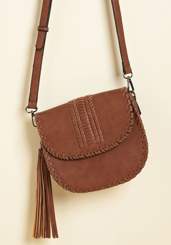 You're Stitching the Point Bag - Brown, Tan, Solid, Tassels, Woven, Casual, Vintage Inspired, Rustic, Faux Leather, Good, Boho, Festival, Fall