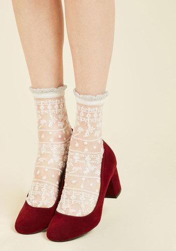 Cheer for Sheer Socks - Knit, White, Ruffles, Wedding, Daytime Party, Wedding Guest, Vintage Inspired, 40s, 50s, Darling, Spring, Summer, Winter, Sheer, Good, White, Valentine's