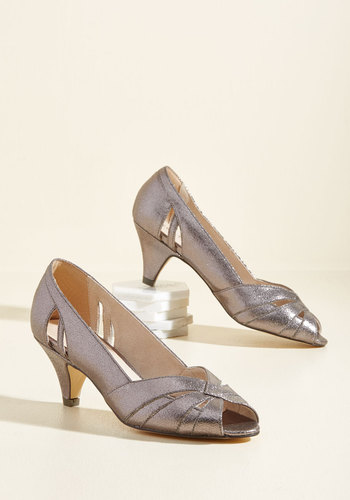 1950s Style Shoes From Party to Finish Heel in Pewter $67.99 AT vintagedancer.com