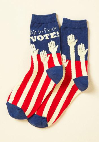 Poll Model Socks - Blue, Red, Tan / Cream, Novelty Print, Print, Casual, Scholastic/Collegiate, Americana, Fall, Winter, Good, Crew, Cotton, Knit