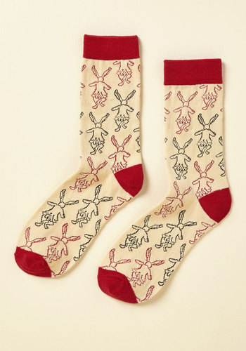 This Way to Wonderland Socks by Out of Print - Store 1, Yellow, Red, Novelty Print, Casual, Quirky, Nifty Nerd, Spring, Winter, Better, Variation, Saturated, Under $20, Stocking Stuffers, Under 25 Gifts