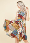 Girl Meets Twirl A-Line Dress in Patchwork